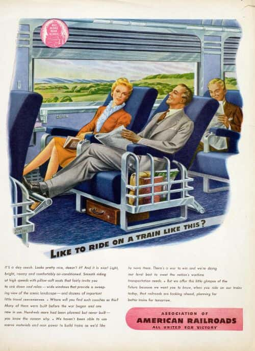 """Like to ride a train like this?"" After the war, trains, even commuter ones, would be beautifully designed. A truly elegant couple are comfortably seated in a railcar. Their attitudes reflect relaxation, within certain rules that govern public spaces. Illustration: John Vickery"