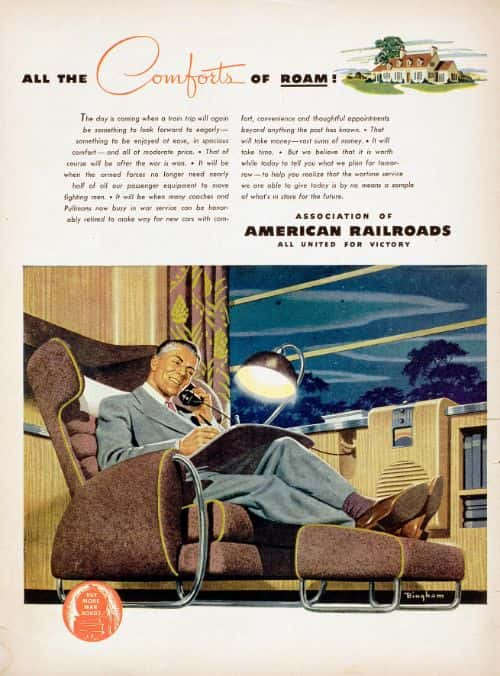 """All the comfort of roam!"" After the war, would travel time become work time? A man makes deals, comfortably seated in a business lounge chair. The promise here is one of travel made easier between two destinations, one being the family and the country home, and the other, work and urban life. Illustration: James R. Bingham"