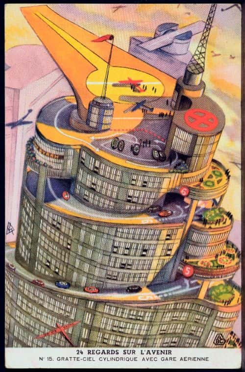 "In the future, to resolve issues of overpopulation, ""cylindrical"" and conical ""skyscrapers"" will have spiraled access ramps for automobiles, rising gradually from the ground up to great heights; at the top, we'll find an airport"