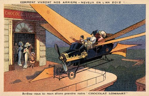 In 2012, in one hundred years, the rooftops of Paris will be transformed into shopfronts and heliports