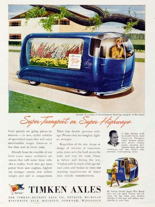 A delivery vehicle for small packages and floral bouquets. The delivery company had already been planned at that time. A truck designed by Lurelle Guild, an industrial designer, which includes removable plastic billboards, attractive aerodynamic lines, a ventilated roof with a view of the sky over the driver's compartment, and forward-opening doors.